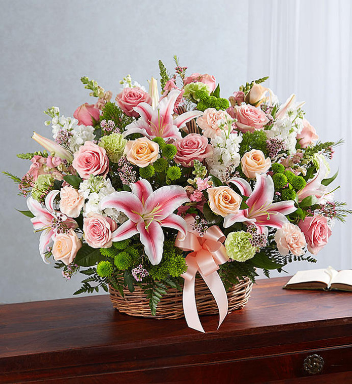 Pastel Sympathy Basket Arrangement